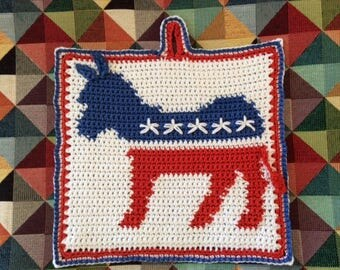 Demoocrats' Donkey logo pot holder pattern - INSTANT DOWNLOAD
