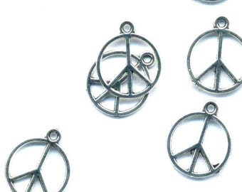 Peace and love antique silver metal 2 charms pendant