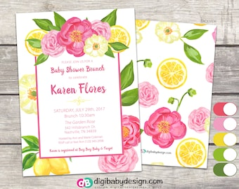 Baby Girl Floral Brunch Baby Shower Invitation, White Pink Yellow Lemon Rose Summer Fun, PDF JPG digital files