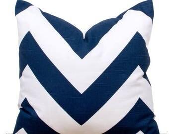 """SALE ENDS SOON Navy Throw Pillows, Navy Chevron Pillow Case, Navy Pillows, Navy Sofa Cushions, 22 x 22"""""""