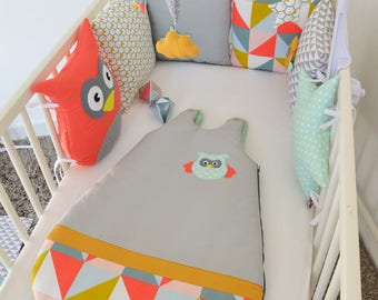 Graphic OWL sleeping bag 0-6 months - coral, gray, mint, mustard