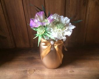 Handpainted gold Mason jar including flowers, vase, home decor, shabby chic, gift idea