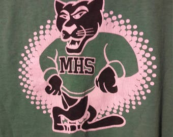 Vintage Retro High School T-Shirt w/ Lion Logo - Light Green Old School Hipster Shirts - Cool Cat Graphic Tee - Authentic Cotton Blend Tees
