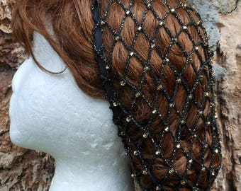 "Beaded Renaissance Black & Gold Snood Hair Net With Czech Glass Gold  Beads aka ""Gold Mine"" SHOULDER LENGTH Hair"
