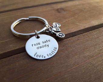 ride safe we need you here with us | personalized motorcycle keychain