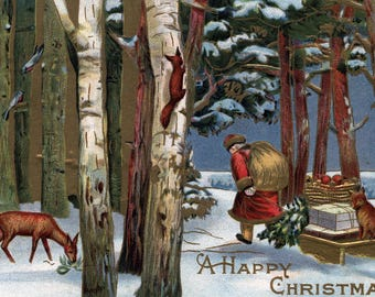 Christmas Greeting - Santa Through Forest (Art Print - Multiple Sizes Available)