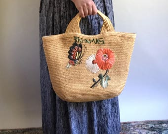 Vintage Straw Market Bag with Handles / Tourist Straw Bag with Raffia Detail Bahamas