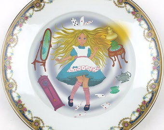 Alice in Wonderland - Falling down - Vintage Porcelain Plate - #0448