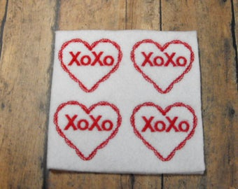 XOXO Valentine Heart felties,  felt bookmark, felt paper clip, felt badge reel, key chain, hair bow center, hair accessory, feltie supplies