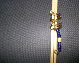 Gold and Blue Loc Bead