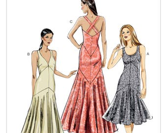 8814, Vogue, Women's Formal Dress, Vogue Fashion, Mermaid Dress, Dropped Waist, Flared Skirt, Prom, Bridesmaid, Evening gown, Custom Fit