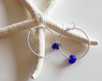 Twisted Hoops with Recycled Glass