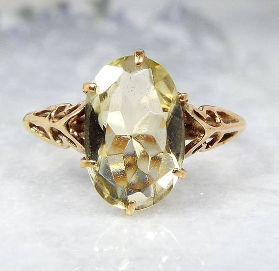 SALE! Vintage / 9ct Yellow Gold Ornate Victorian Style Solitaire Citrine Ring / Size L 1/2