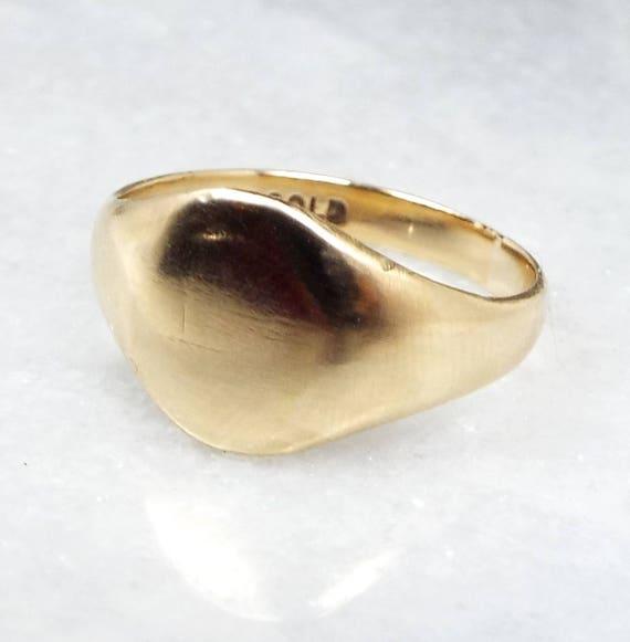 Antique Edwardian 9ct Yellow Gold Blank Polished Shiny Signet Ring / Size L 1/2