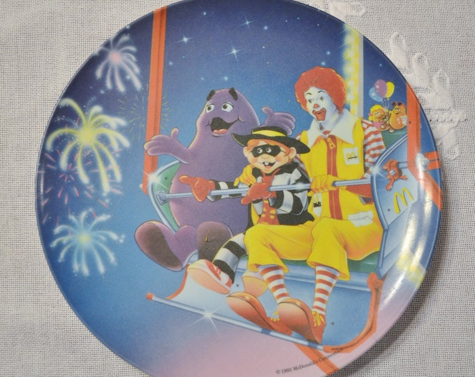 Vintage McDonalds Plate Fireworks Ferris Wheel 1993 Plastic Advertising Dish  Panchosporch
