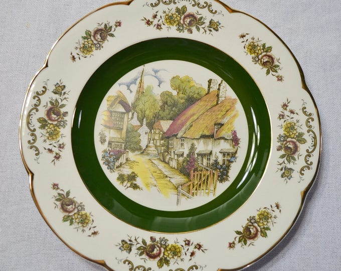 Vintage Wood and Sons Ascot Service Plate Decorative Plate Ironstone English Cottage Village Scene Made in England PanchosPorch