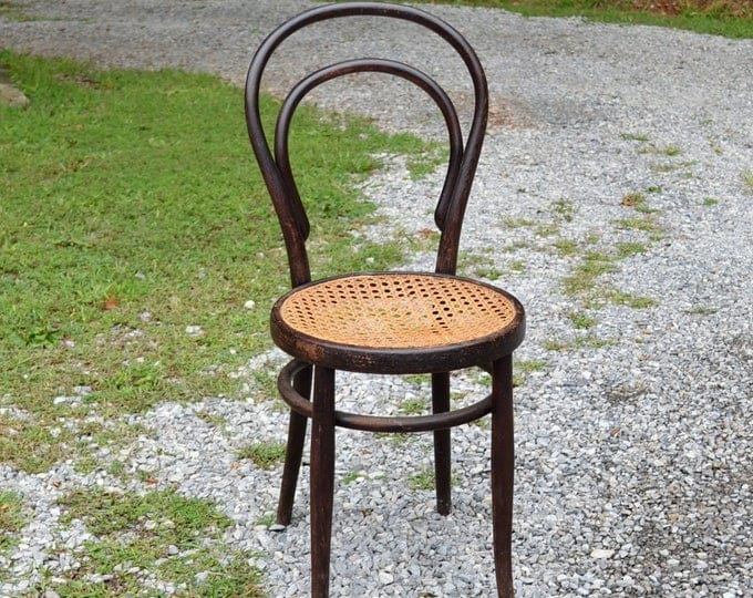 Vintage Bentwood Chair Cane Seat Thonet Style Dark Wood Finish Bistro Desk Dining Chair Panchosporch