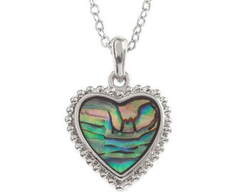 Tide Jewellery Paua Shell Delicate Heart Pendant Gift Boxed