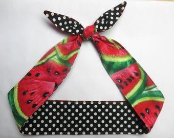 Rockabilly Skinny Narrow Headband  Watermelons fruit black  white polka dots / pink / green  Pinup Vintage Retro Style 50's Banadana