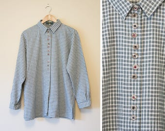 Vintage oversized green and cream plaid cotton / linen shirt