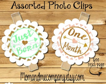 First birthday photo banner Photo holder First year photo clips Month photo banner monthly banner first year banner Coral Mint Gold glitter