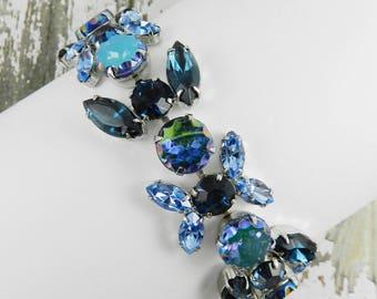 Vintage Rhinestone Bracelet High End Montana Blue Navette Sapphire AB Scalloped Edge Light Sapphire Silver Tone Finish