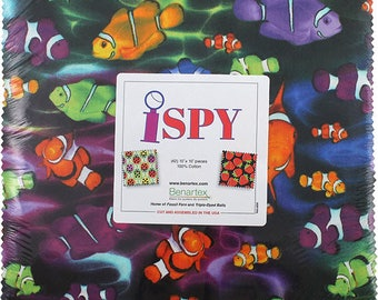 "I Spy Layer Cake -  (42) 10"" X 10"" Squares - Super Cute Precut Cotton Quilt Fabric - Benartex Fabrics - 0ISPYPK (W4417)"