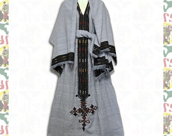 Ethiopian Traditional Hand Embroidered Dress (w-a64)