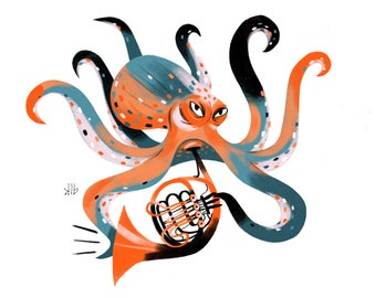 8x10 - Octopus Playing French Horn - Art Print
