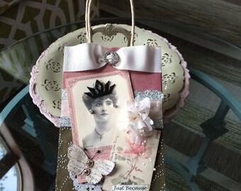 Decorative Gift Bag - Victorian Gift Bag - Vintage-style Gift Bag