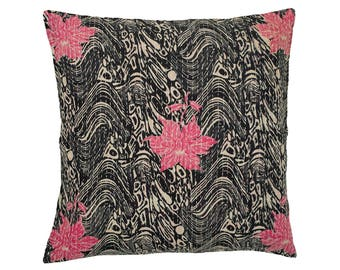 Kantha Cushion Cover - Pink flowers on black patterned background