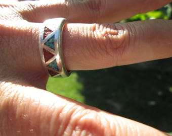 Turquoise, Coral and Sterling Silver Band Ring Size 9.75