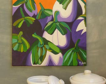 Eggplant painting Eggplant original artwork Kitchen art wall decor  Wall decorating ideas Office wall decor ideas