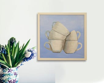 Coffee cups wall art Kitchen decorating Original painting Coffee cups art  Acrylic on canvas Modern home decor Framed canvas art