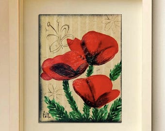 Poppies Original ACEO Acrylic painting Miniature Art ACEO Miniature artwork Limited Edition ACEO poppies Art card