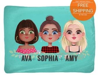 Personalized best friend blanket, custom bff portraits, throws by nkdna