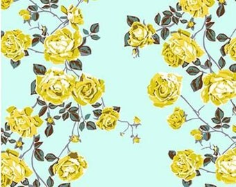 Shabby chic fabric yellow roses on seafoam green fabric Cabbage rose fabric