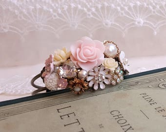 Victorian style flower cuff Vintage Bridal Corsage Assemblage jewelry Shabby chic Floral bridal cuff White and Pink flower accessory