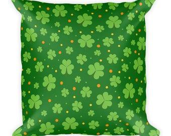 St. Patrick's Day Green Shamrocks Little Square Pillow
