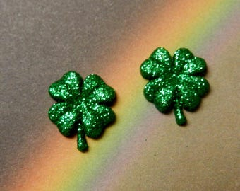 Shamrocks 4 Leaf Clovers W/Glitter Repurposed Post Earrings With Nickel Free Backs St. Patrick's Day Luck Irish Erin Go Bragh