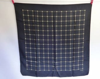 Vintage Black Silk Scarf Olmo Geometric 86cm x 84cm