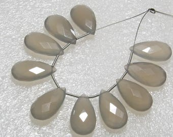 Chalcedony Gray Color Faceted - 5 Matching Pairs - Pear Shape size - 10x18 mm