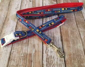 Nautical Oats Dog Collar and Leash Set