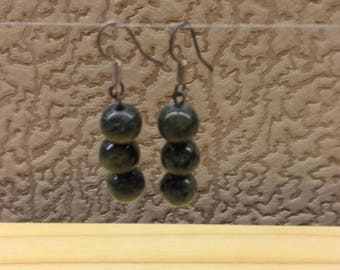 Vintage Handmade  Dark Green Russian Jasper Gemstone Round Beaded Earrings