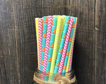 100 Pack Happy Birthday Theme Paper Straws, Birthday Party Supply, Blue, Yellow and Pink Paper Straws, Chevron Party Goods, Cake Pop Sticks