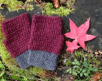 Anthracite fingerless gloves / plum
