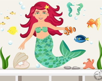 "Wall decal ""Mermaid"" Baby nursery ocean wall sticker with many sea fishes"