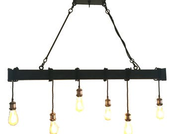 Handcrafted 6 light industrial steel beam with cloth cord wrap (led bulbs included) free shipping