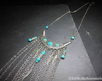 Silver Statement Necklace, Turquoise Tassel Necklace, Turquoise Necklace, Silver Boho Necklace, Silver Turquoise Necklace, Grecian Jewelry