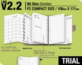 TRIAL [FC compact / B6 slim v2.2 w DS1 do2p] May to July 2018 - Filofax Inserts Refills Printable Binder Planner Midori.